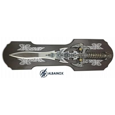 Dague poignard 47,5cm couteau collection - Inclus socle bois