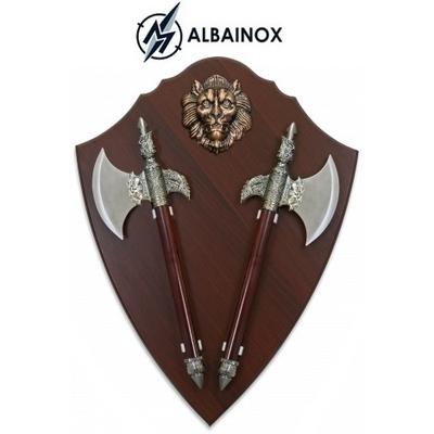 Lot 2 haches hachettes 44,2cm Lion socle ALBAINOX
