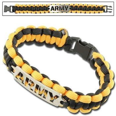 Bracelet paracorde survie + plaque métal Army3
