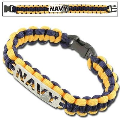 Bracelet paracorde survie + plaque métal Navy