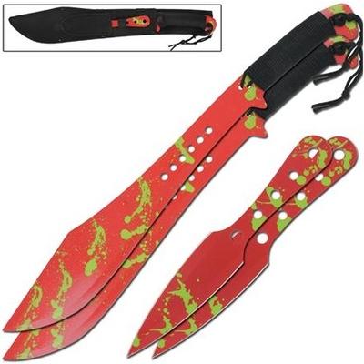 Lot 2 machettes 61cm + 2 couteaux 25cm - machette épées épée