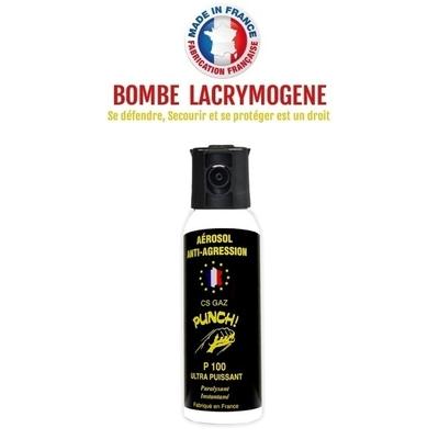 Bombe lacrymogène 100ml GAZ CS - aérosol spray lacrymo
