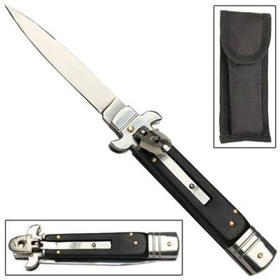 Couteau automatique cran d'arret - noir serrure à levier