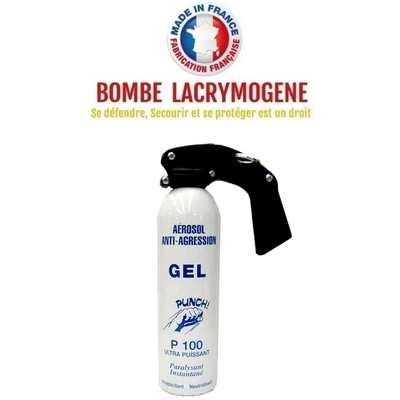Bombe lacrymogène 500ml GEL CS - aérosol spray lacrymo