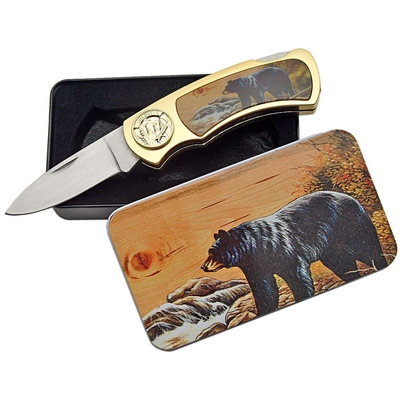 Coffret collector couteau pliant - Collection Ours noir