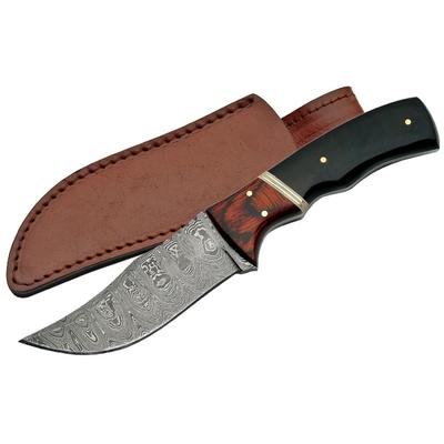 Poignard couteau 20,5cm lame DAMAS - Corne et laiton