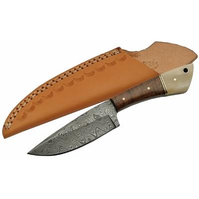 Poignard couteau 20,5cm lame DAMAS - Laiton, bois et os