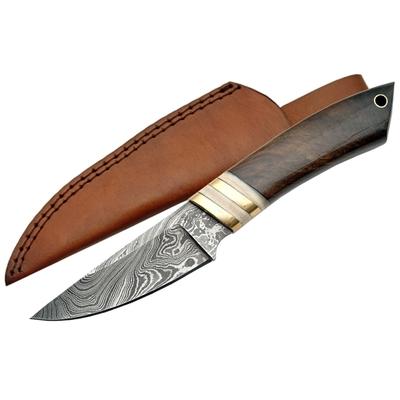 Poignard couteau 22cm lame DAMAS - Bois noisetier
