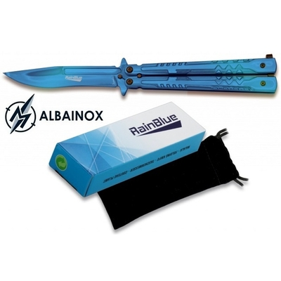 Balisong couteau papillon 22cm bleu nuit - ALBAINOX tricks