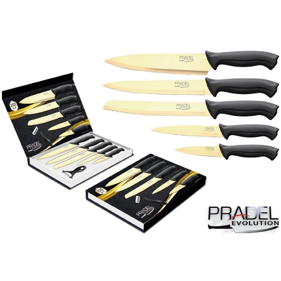 Coffret couteaux PRADEL couteau de cuisine table - Titane doré