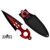 Couteau Zombie dague de lancer 16,4cm - Tout acier inox rouge