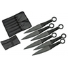 6 couteaux lancer full tang, couteau kunaï - noir