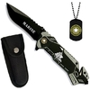 Couteau troupe de marine + plaque métal + étui
