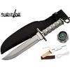 Poignard couteau 35cm tactique gris - kit survie inclus