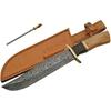 Grand poignard 37,5cm lame DAMAS - Couteau bois et laiton