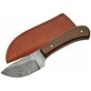 Poignard 15,2cm lame DAMAS - Couteau compact bois noyer