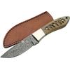 Poignard 20,4cm lame DAMAS - Couteau en corne blanche