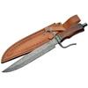 Grand poignard 42cm lame DAMAS - Couteau en bois