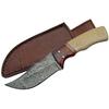 Poignard couteau 20,5cm lame DAMAS - Damascus bois et os