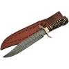Grand poignard couteau 36,5cm DAMAS - Damascus bois cerf
