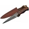 Poignard dague 33cm lame DAMAS - Couteau bois et laiton