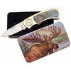 Coffret couteau pliant 18cm - Décoration élan sauvage