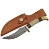 Poignard couteau 21cm lame DAMAS - Corne et laiton