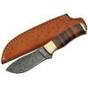 Poignard couteau 21cm lame DAMAS - Manche cuir laiton