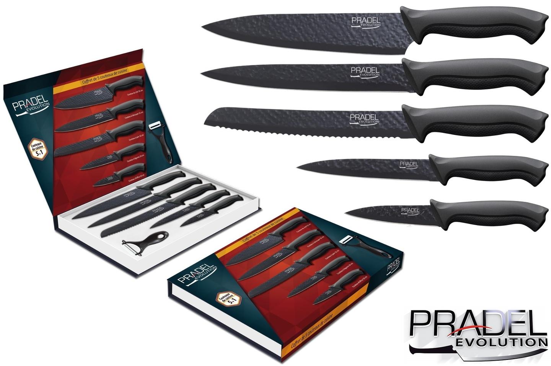 Coffret couteaux pradel couteau de cuisine table acier noir knives - Coffret couteaux de cuisine ...