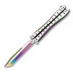 Balisong rainbow 23,2cm couteau papillon + housse.