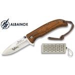 Coffret couteau pliant bois ALBAINOX + affuteur.