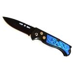Couteau automatique 15,8cm cran d'arrêt compact bleu.
