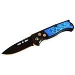 Couteau automatique 15,8cm cran darrêt compact bleu