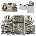 Boucle ceinture + briquet - Dollars squelette argenté
