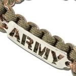 Bracelet paracorde survie + plaque métal Army2