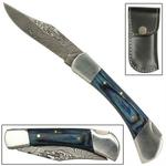 Couteau 17cm lame damas + étui cuir - pliant bleu
