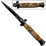 Grand couteau Italien 24cm automatique + étui - bois marron