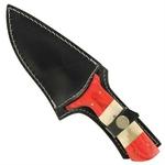 Poignard 22cm lame damas + étui cuir - couteau3