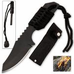 Couteau survie 18cm + pierre allume feu2