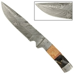 Poignard 28,5cm damas - couteau full tang - bois olivier