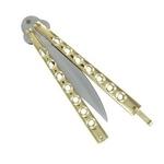Couteau papillon balisong 22,5cm - métal doré2