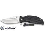 Couteau pliant + allume-feu fire starter - noir Albainox