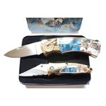 Coffret acier + 2 couteaux pliants - Couteau loup.