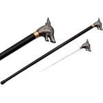 Canne épée 87cm de marche - design métal Loup