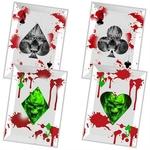 4 Cartes à lancer tranchants - Carte squelette acier