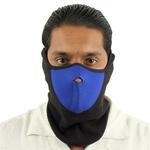 Masque en néoprène airsoft moto - Design noir et bleu.
