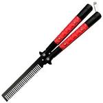 Peigne papillon balisong 22cm brosse cheveux - noir et rouge....