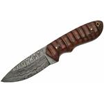 Poignard 21,2cm lame DAMAS - Couteau en bois artisanal.