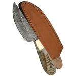 Poignard couteau 23cm lame DAMAS - Damascus corne bélier..