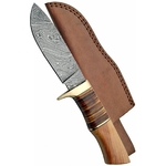 Poignard couteau 24,8cm lame DAMAS - Damascus bois cuir.